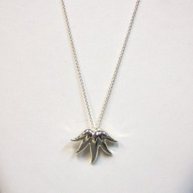 Vintage Tiffany & Co Sterling Leaf Pendant On Chain