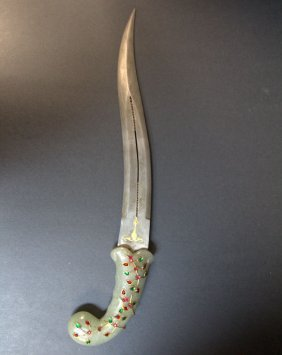 Mughal Jade Jeweled Dagger