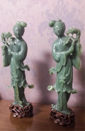 Chinese Spinach Jade Lady, Pair With Stand