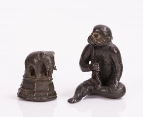 Two Chinese Bronze Figures, Monkey And Elephant