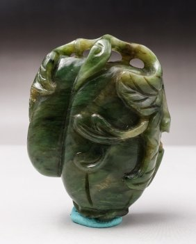 Chinese Spinach Jade Toggle, Gourd