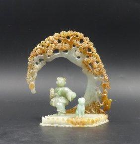 Chinese Jadeite Carved Boy Under Pine Tree