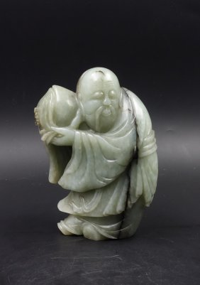 Chinese Celadon Jade Carved Figure Of Scholar