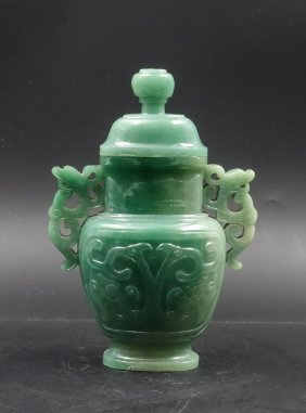 Chinese Jade Carved Twin Ear Cover Vase