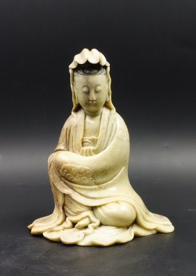 Chinese Soapstone Figure Of Seated Guanyin