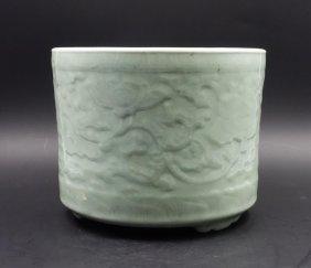 Chinese Celadon Glazed Tripod Censer Foliage Motif