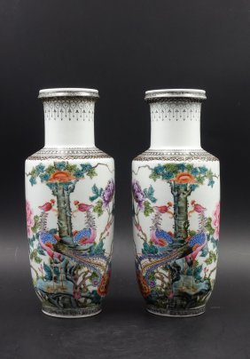 Chinese Pair Of Famille Rose Phoenix Rouleau Vase