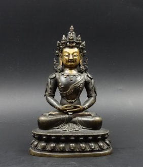 Chinese Gilt Bronze Figure Of Amitabha