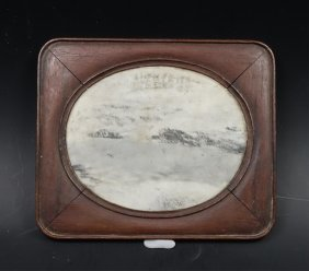 A Chinese Marble On Hardwood Screen