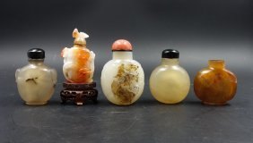 Group Of 5 Chinese Agate Snuff Bottles