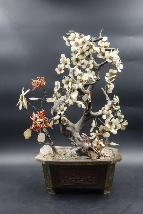 Chinese Jade And Coral Planters