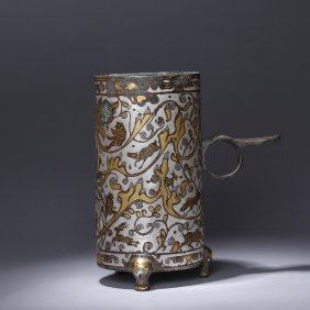 Chinese Warring State Bronze Gilt Silver Cup