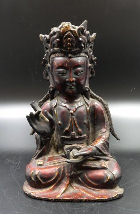 Chinese Ming Dynasty Painted Bronze Guanyin
