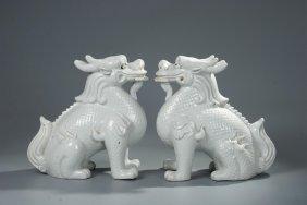 Pair Of Chinese Blanc De Chine Dehua Porcelain Qil