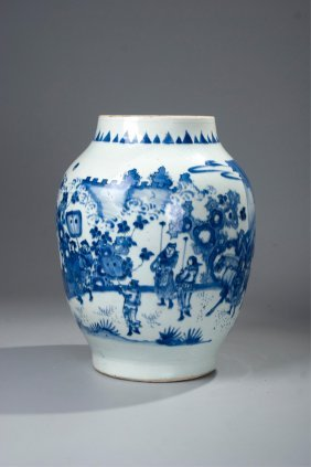 Chinese Blue And White Figural Jar