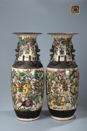 Pair Chinese Crackle Glazed Vase, Warrior Scene