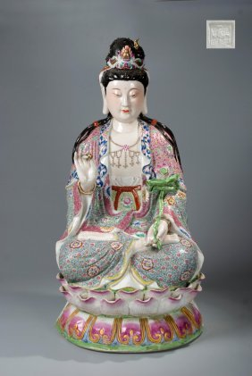 Chinese Famille Rose Figure Of Guanyin