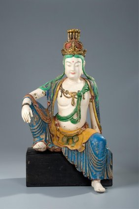 Chinese Polychrome Wood Figure Of Guanyin