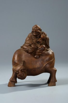 Chinese Bamboo Root Carved Lohan On Beast