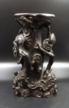Chinese Zitan Carved Lingzhi Group