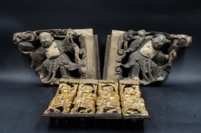 Group Of 6 Chinese Wood Carvings