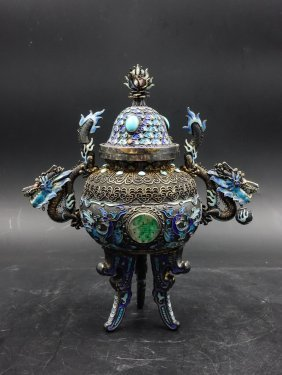 Chinese Silver Enamel Tripod Censer