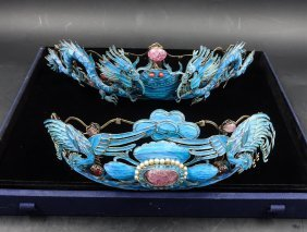 Pair Chinese Kingfisher Feather Head Crown
