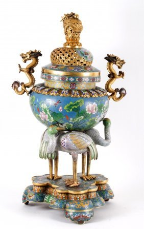 Large Cloisonne Tripod Incense Burner