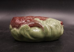 Chinese Apple Green And Red Glazed Brush Washer