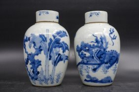 Pair Chinese Blue And White Qilin Cover Jar
