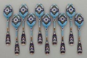 Set Of Ten 19th Century Russian Silver Enamel Spoons