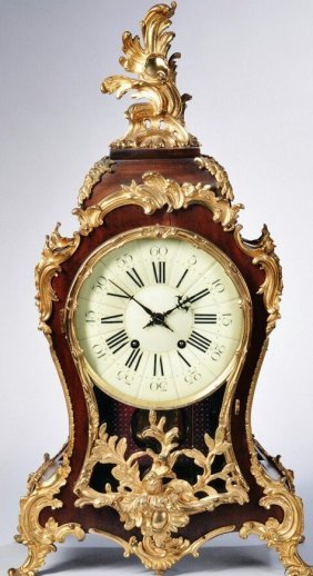 A Large Louis Xv Style Gilt Bronze Clock