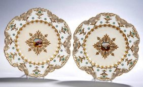 A Pair Of Jewelled Coalport Plates Circa 1880