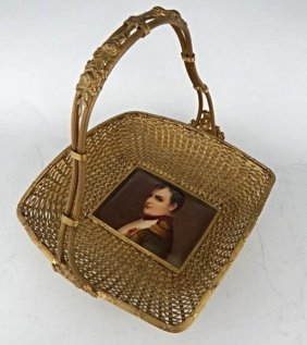 Gilt Bronze Basket With A Porcelain Plaque Of Napoleon