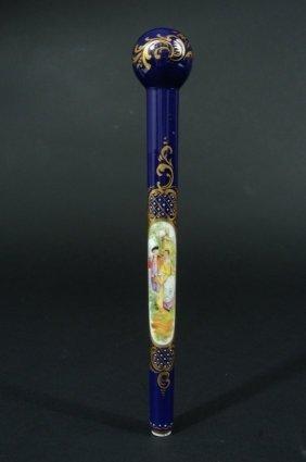 19th Century Royal Vienna Cane Handle