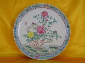 A Chinese Porcelain Plate Peony Flower W Birds Pattern