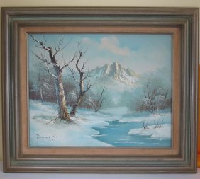A Chinese Snowing Oil Painting With Frame