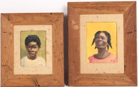 Two Watercolors, Portraits Of Black Children