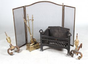 Pair Of Louis Xv Style Cast-brass Andirons