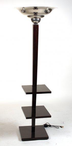 Art Deco Chrome And Mahogany Tiered Floor Lamp