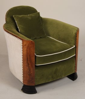Art Deco Green-upholstered Walnut Club Chair