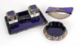 Cobalt Art Glass Desk Garniture Set