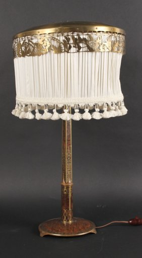 Faux Wood Metal And Brass Inlaid Table Lamp