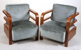 Pair Of Art Deco Upholstered Oak Club Chairs