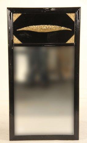 Art Deco Parcel-gilt Black Lacquer Pier Mirror