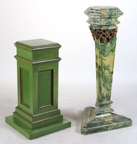 Two Green-painted Wood Pedestals