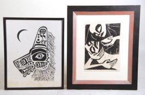 Black And White Woodblock Print, Abstract Figures