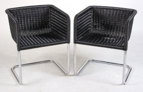 Pair Of Harvey Probber Wicker And Chrome Chairs