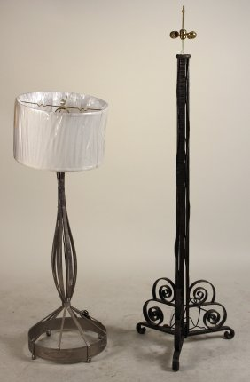 Two Hand-hammered Metal Floor Lamps