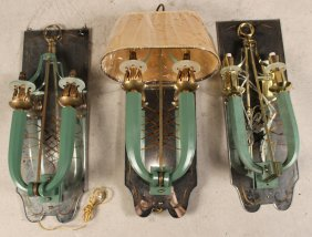 Three Turquoise-painted Two Arm Wall Sconces